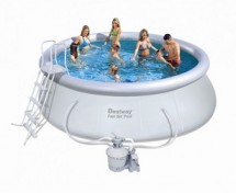 Бассейн BestWay с надувным верхом песочным фильтром и насосом 457х122 см